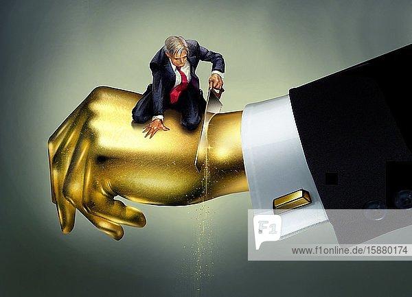 Illustration  man cutting a golden hand
