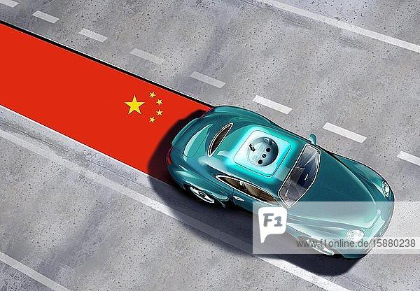 Illustration  e-car from China