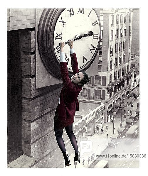 Illustration  stopping time (from the film Girl Shy with Harold Lloyd)