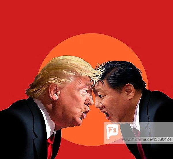 Illustration  Donald Trump versus Xi Jinping.