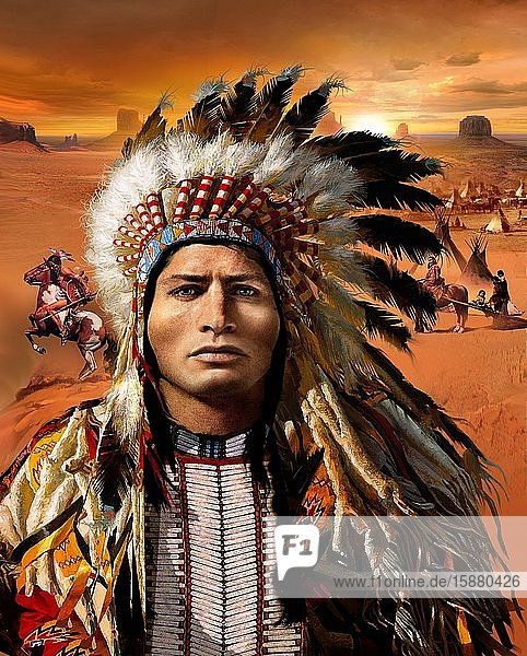 Illustration  portrait of an American Indian