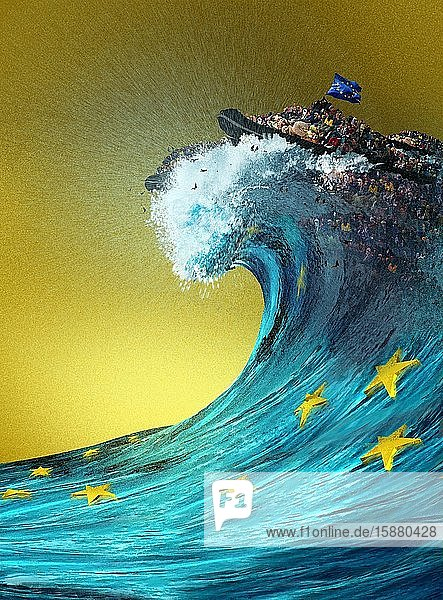 Illustration  migrant boat at the top of a huge wave  European sea