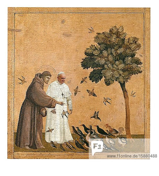 Illustration  Pope Francis and Saint Francis of Assisi feeding birds