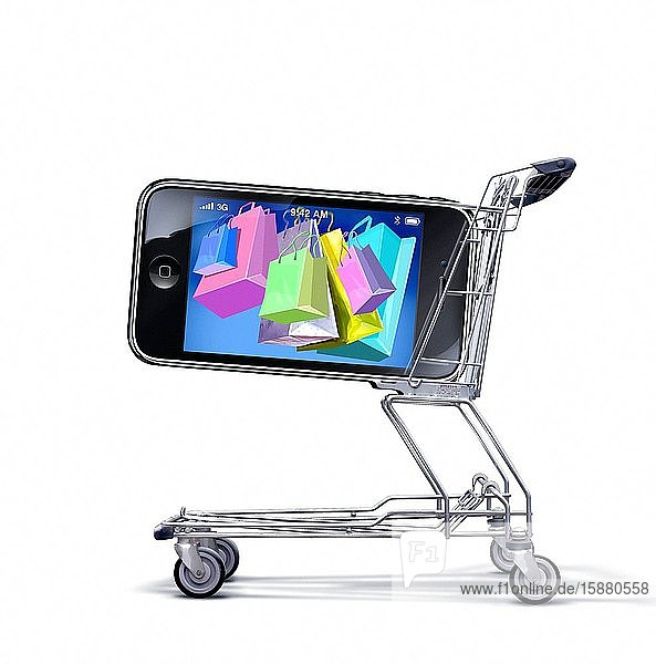 Illustration  ecommerce  shopping bags on laptop screen in shopping cart