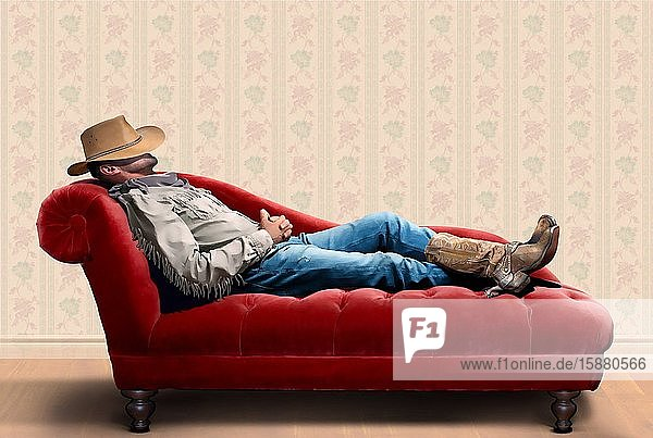Illustration  cowboy on the couch