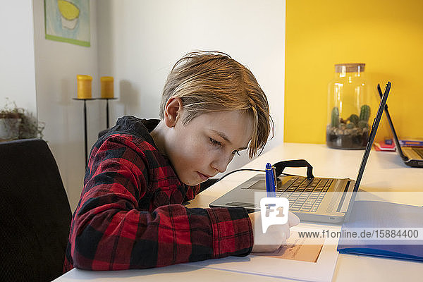 Boy indoors during Corona virus crisis  sitting at table with laptop computer  doing homework.