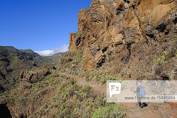 Spanien  Provinz Santa Cruz de Tenerife  San Sebastian de La Gomera  Rückansicht einer Wanderung für ältere Rucksacktouristen im Alto de Tacalcuse