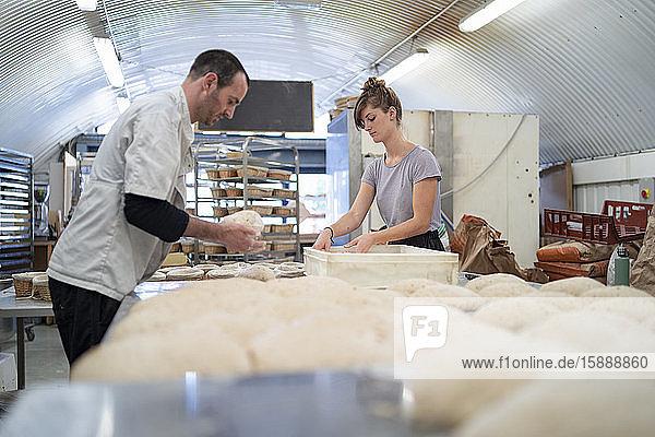 Mann und Frau bereiten in einer Bäckerei Brotlaibe zu Mann und Frau bereiten in einer Bäckerei Brotlaibe zu