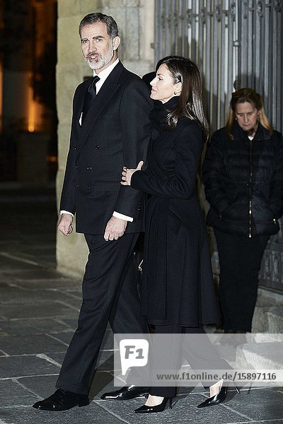 King Felipe VI of Spain  Queen Letizia of Spain attends Placido Arango's Mass Funeral at Los Jeronimos church on March 4  2020 in Madrid  Spain
