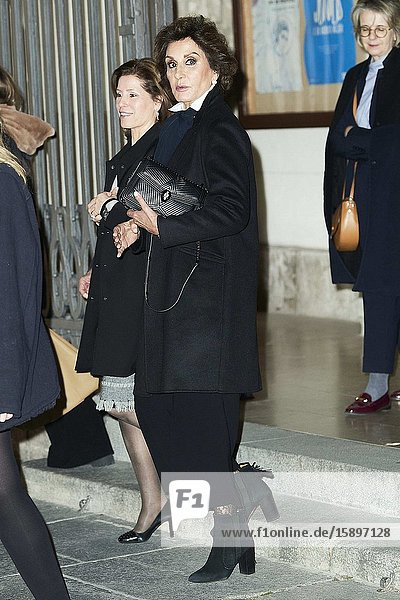 Nati Abascal attends Placido Arango's Mass Funeral at Los Jeronimos church on March 4  2020 in Madrid  Spain