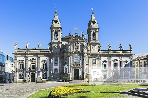 Carlos Amarante square with 18th century Sao Marcos Church and former hospital converted into an hotel  Braga  Minho  Portugal.