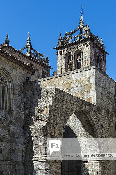Da Se Cathedral bell tower viewed from the cloister  Braga  Minho  Portugal.