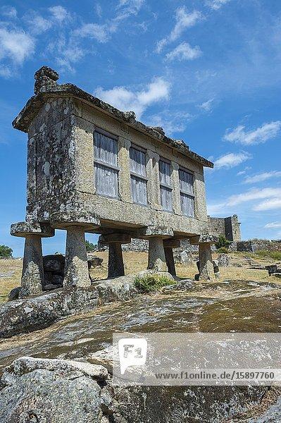 Traditional Espigueiros  Granary  Lindoso  Peneda Geres National Park  Minho province  Portugal.