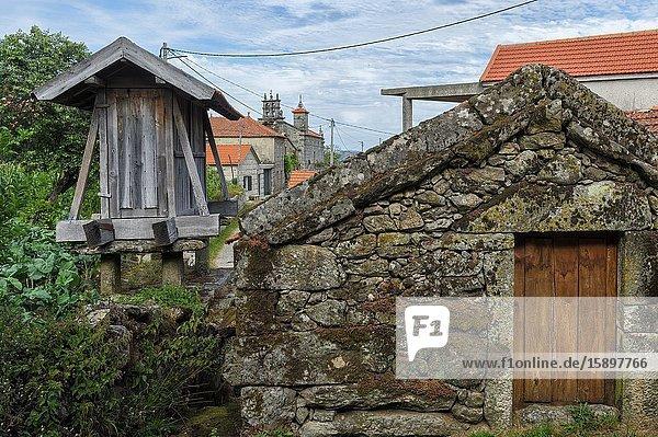 Traditional Espiguero,  Granary in the center of the village,  Paredes do Rio,  Peneda Geres National Park,  Minho,  Portugal.