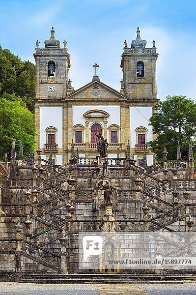 Nossa Senhora da Peneda Sanctuary and Virtue stairway  Peneda Geres National Park  Gaviera  Minho province  Portugal.