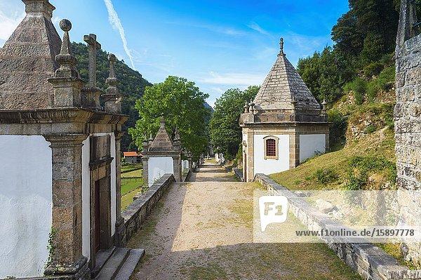Nossa Senhora da Peneda Sanctuary  Stairway and chapels  Peneda Geres National Park  Gaviera  Minho province  Portugal.