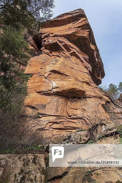 Strange rocks in balance from the path up to the viewpoint of The River Gallo's gorge. Guadalajara. Spain. Europe.