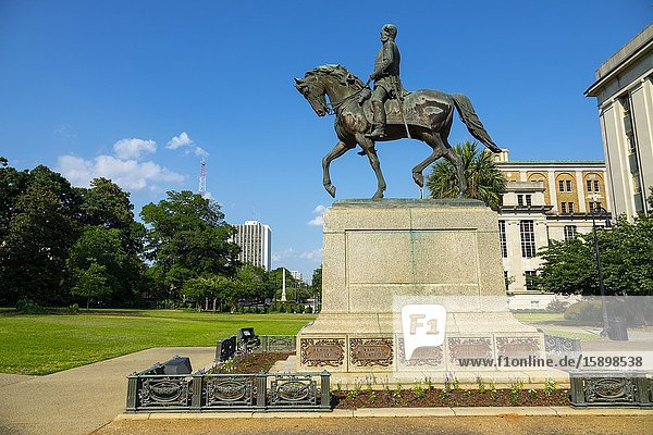 Wade Hampton statue memorial Columbia South Carolina home of the Statehouse Capital building with a rich history.