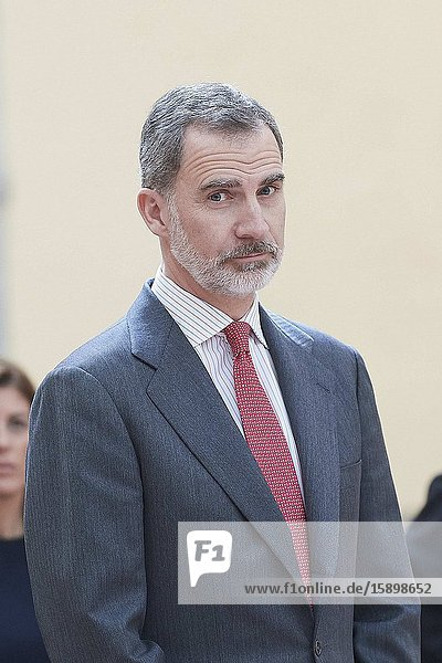 King Felipe VI of Spain attends 38th edition of the school contest 'What is a King for you?' at El Pardo Royal Palace on March 9  2020 in Madrid  Spain