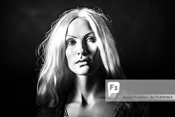 Portrait of a female mannequin with blonde hair.