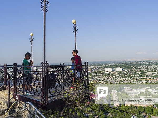 Cityview and viewing paltform at mount Suleiman-Too (Sulaimain-Too  Sulayman-Too)  a UNESCO World Heritage site. City Osh in the Fergana Valley close to the border to Uzbekistan. Asia  central Asia  Kyrgyzstan.