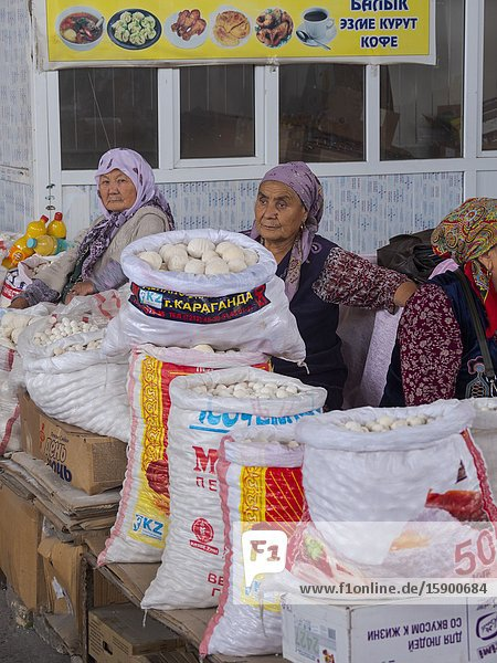 Kurut (Kaschk)  dried Joghurt  a typical dairy product. The traditional Bazaar  City Uzgen (Oesgoen  Usgen) close to the border to Uzbekistan. Asia  central Asia  Kyrgyzstan
