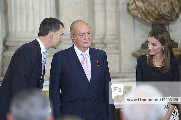 Prince Felipe of Spain  Princess Letizia of Spain  Princess Leonor  Princess Sofia  Queen Sofia of Spain  Princess Elena  Froilan  attended the King Juan Carlos of Spain signs the Act of Abdication at the Royal Palace on June 18  2014 in Spain. King Juan Carlos of Spain is abdicating the throne after a 39 year reign and hands the throne to his son Prince Felipe of Spain who will be sworn on June 19  2014 ahead of a joint session of parliament. King Felipe VI has decided to renounce the inheritance of King Juan Carlos of Spain 'that could personally correspond to him ' announced this Sunday the Casa del Rey  in a statement in which he also advances that King Juan Carlos of Spain stops receiving the assignment he has fixed in the Budgets of the House of SM the king.