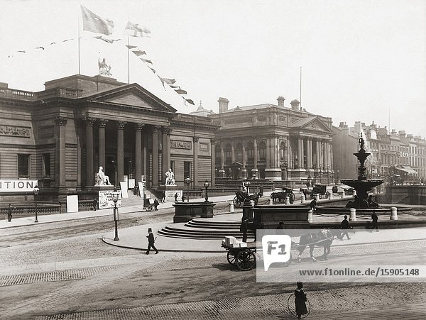 The Walker Art Gallery and The County Sessions House  Liverpool  England  in the late 19th century.