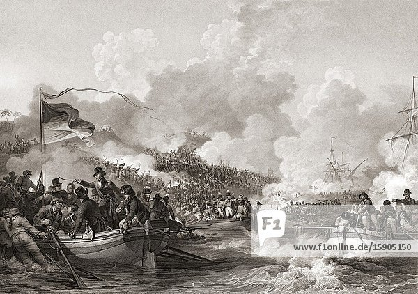 British troops under the command of General Abercromby landing at Aboukir Bay  1801. Sir Ralph Abercromby  1734-1801. Scottish soldier and politician.