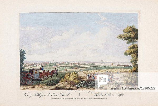 View of Leith from the east road. After an 18th century work by Paul Sandby. Later colourization. Leith  Scotland.