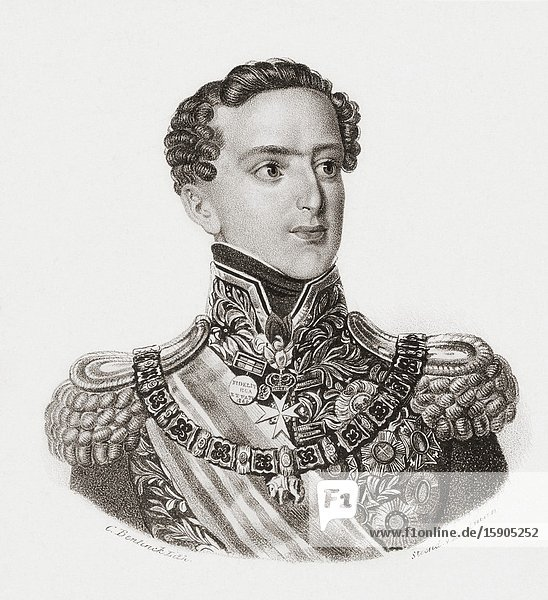 King Miguel I of Portugal  1802 - 1866. Known as The Absolutist  The Traditionalist or The Usurper. After a contemporary portrait by an anonymous artist.