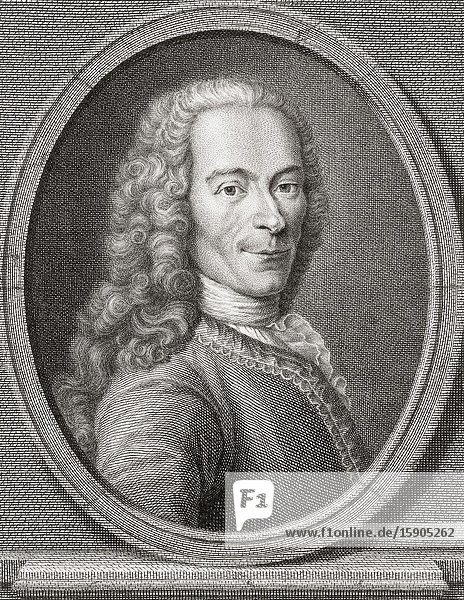 François-Marie Arouet  1694-1778  best known by his nom de plume of Voltaire. French Enlightenment writer  historian and philosopher.