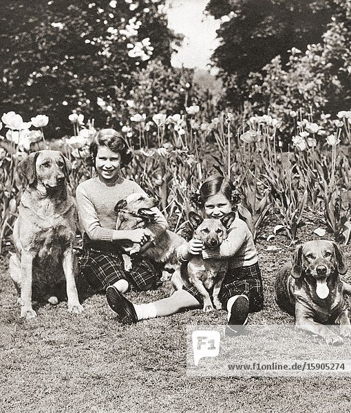 EDITORIAL Princess Elizabeth  left  and Princess Margaret with their pets  Royal Lodge  Windsor  England. Princess Elizabeth of York future Elizabeth II  born 1926. Queen of the United Kingdom. Princess Margaret Rose  future Countess of Snowden  1930-2002. Younger daughter of King George VI and Queen Elizabeth of the United Kingdom and sister of Queen Elizabeth II. From The Coronation Souvenir Book  published 1937.
