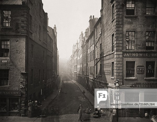 Bell Street from High Street  Glasgow  Scotland in the 1870's. Photograph from The Old Closes and Streets of Glasgow  by Scottish photographer Thomas Annan 1829-1887.