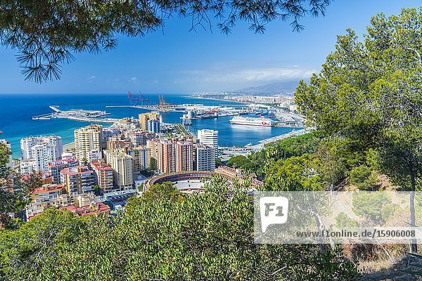 Málaga seen from Mirador de Gibralfaro  Andalucia  Spain  Europe.