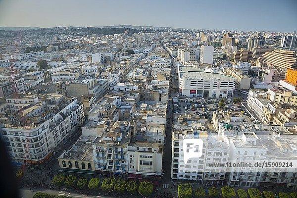 Habib Bourguiba Avenue. Tunis city. Tunisia. Africa. Aerial view.