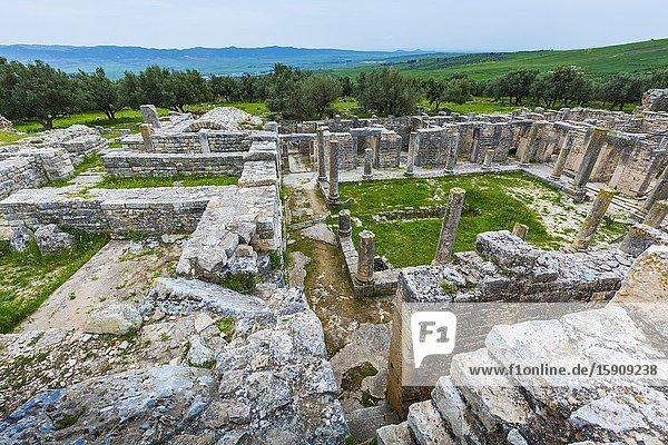 Trifolium villa (brothel). Dougga Roman city ruins. Tunisia.