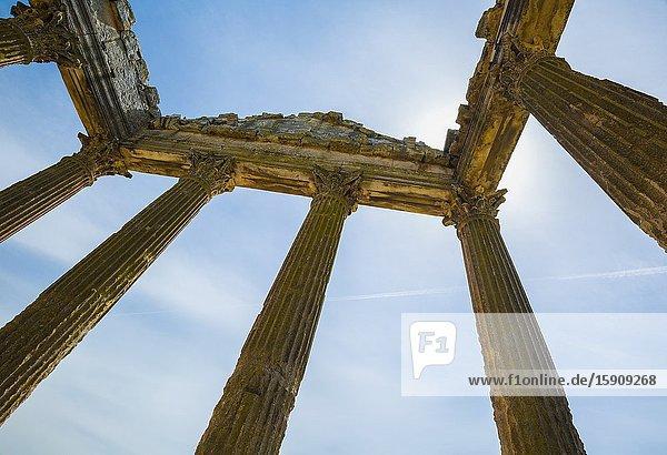 The Capitol. Dougga Roman city ruins. Tunisia.