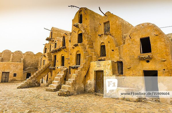 Fortified granaries (ksar). Ksar Ouled Soltane village. Tataouine district  Tunisia  Africa.