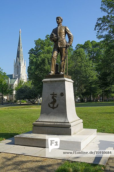 Statue of Worth Bagley  the only U. S. Naval officer killed during the Spanish-American War and a native of Raleigh a city in NC North Carolina and current state capitol capital statehouse.