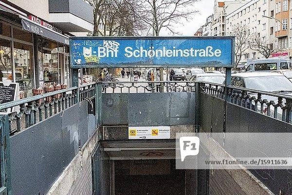 Berlin  Germany. Entrance to Schonleinstrasse U-Bahn Station  a hotspot for local drug scene.