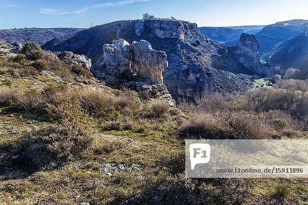 Cliffs at gorge of river Sweet  on a sunny winter day in Pelegrina. Guadalajara. Spain. Europe.