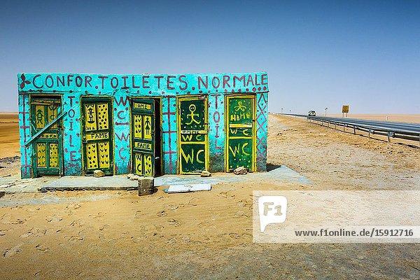 Toilets in Chott el Djerid salt lake. Tunisia  Africa.
