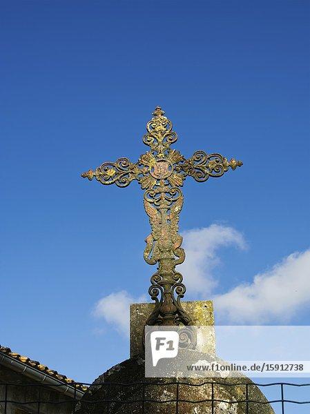 Metal crucifix at Tourtres  Lot-et-Garonne Department  Nouvelle Aquitaine  France.