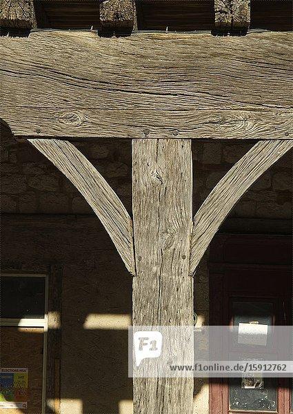 Wooden structure of market halle  Place de la Halle  Villereal  Lot-et-Garonne Department  Nouvelle-Aquitaine  France.