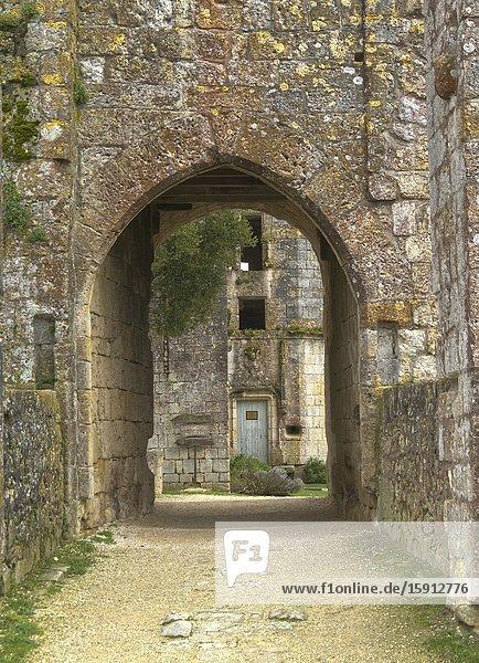 Bridge over former moat at medieval fortified village of Larressingle  Gers Department  Nouvelle Aquitaine  France.