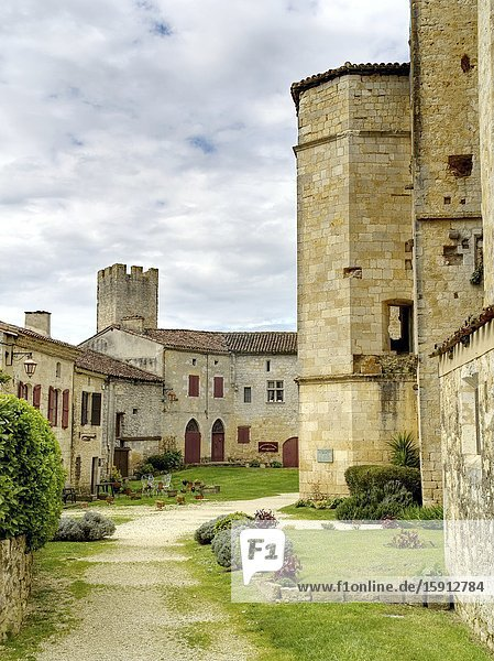 Interior of medieval fortified village of Larressingle  Gers Department  Nouvelle Aquitaine  France.
