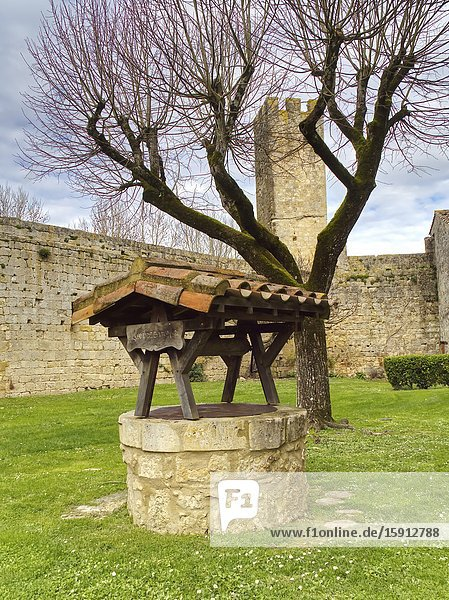 Ancient well of medieval fortified village of Larressingle  Gers Department  Nouvelle Aquitaine  France.