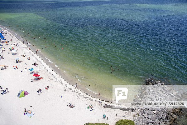 Miami-Dade  Florida  USA. August 12 2016: Beach at Bill Baggs Park   Key Biscayne Lighthouse  USA.