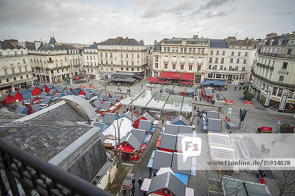Angers Loire valley France on December 26  2019: Aerial view of Christmas market at Place du Ralliement.